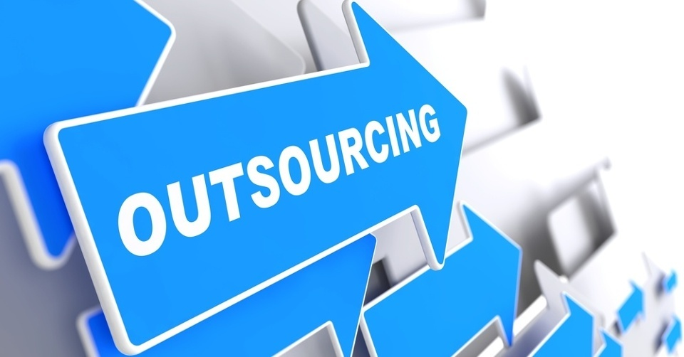 Outsourcing - Business Background. Blue Arrow with _Outsourcing_ Slogan on a Grey Background. 3D Render..jpeg